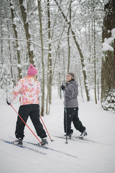 Friends have fun cross-country skiing