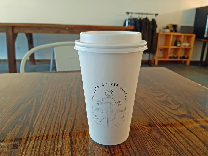 To-go cup of coffee at The Loch Coffee Company
